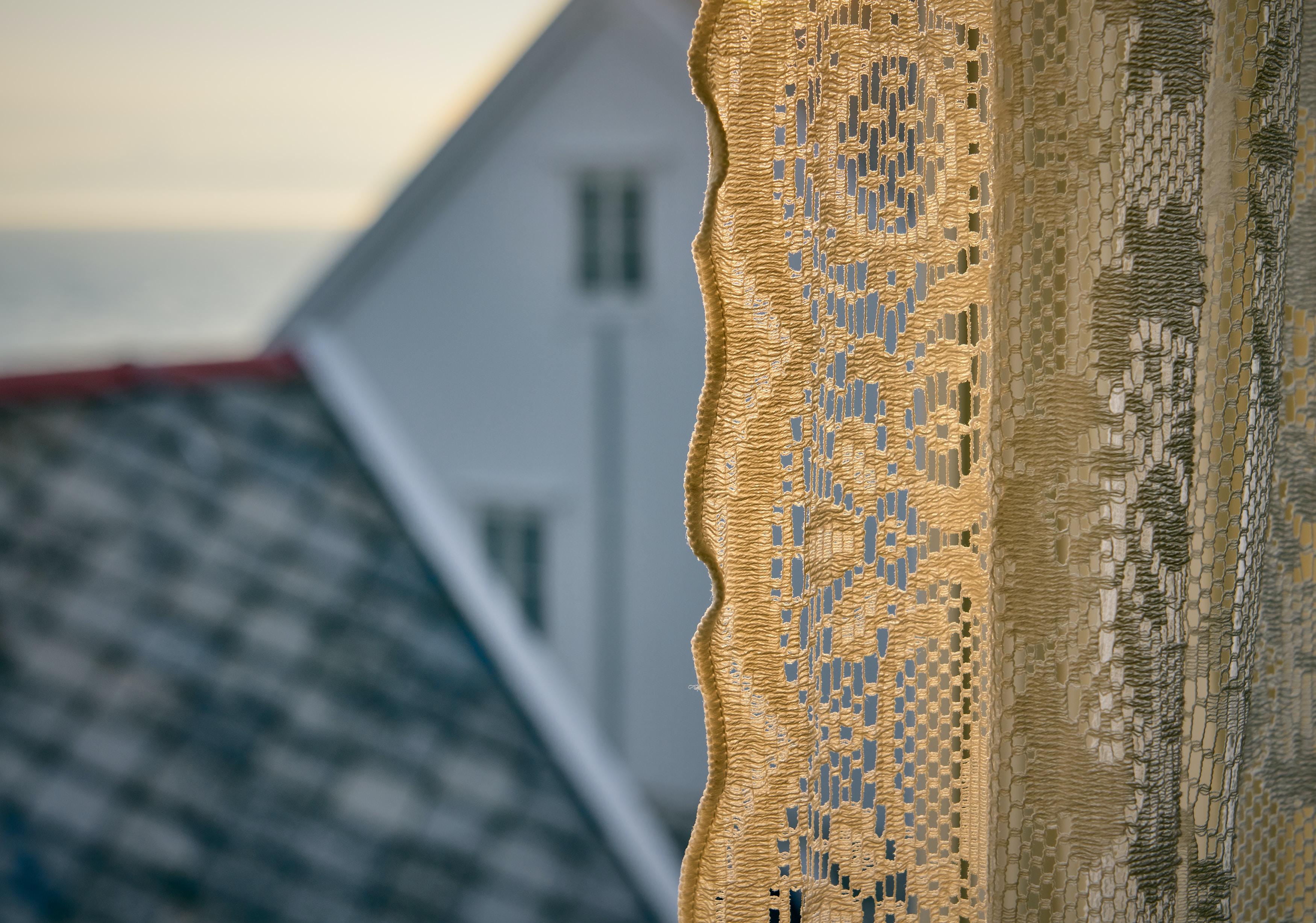 brown floral lace textile