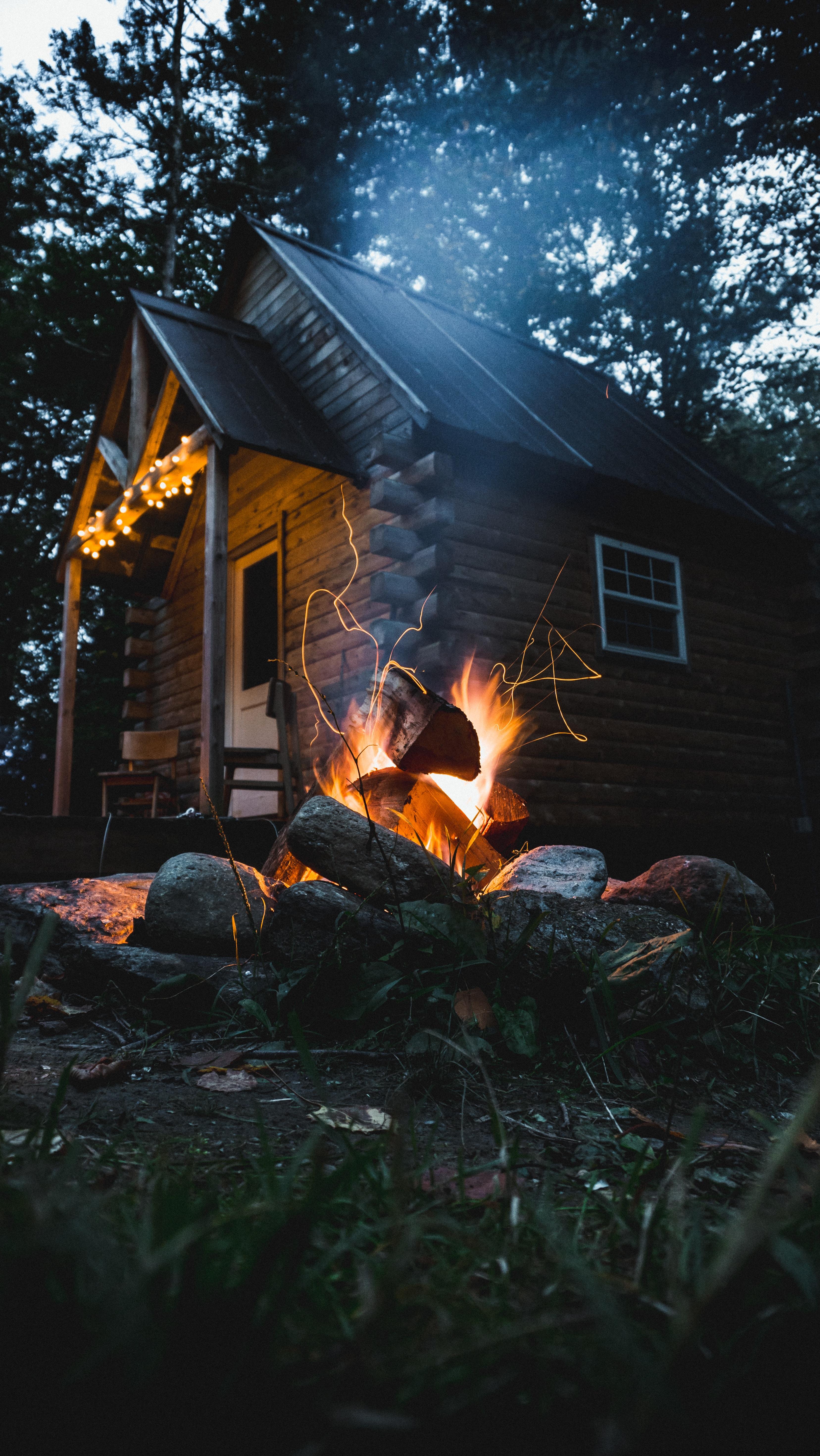 bonfire nearby house