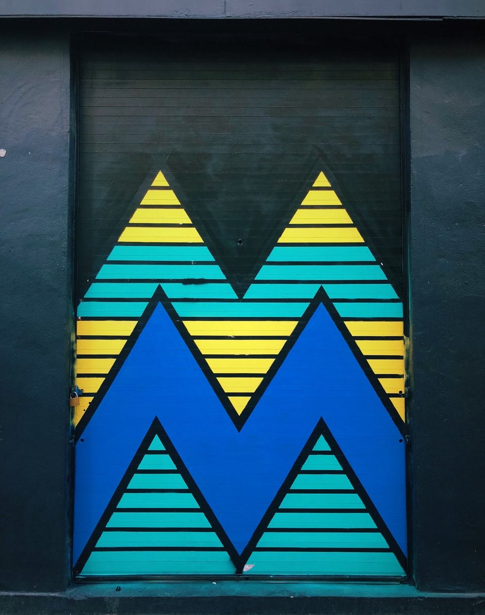 minimalist photography of chevron striped wall art