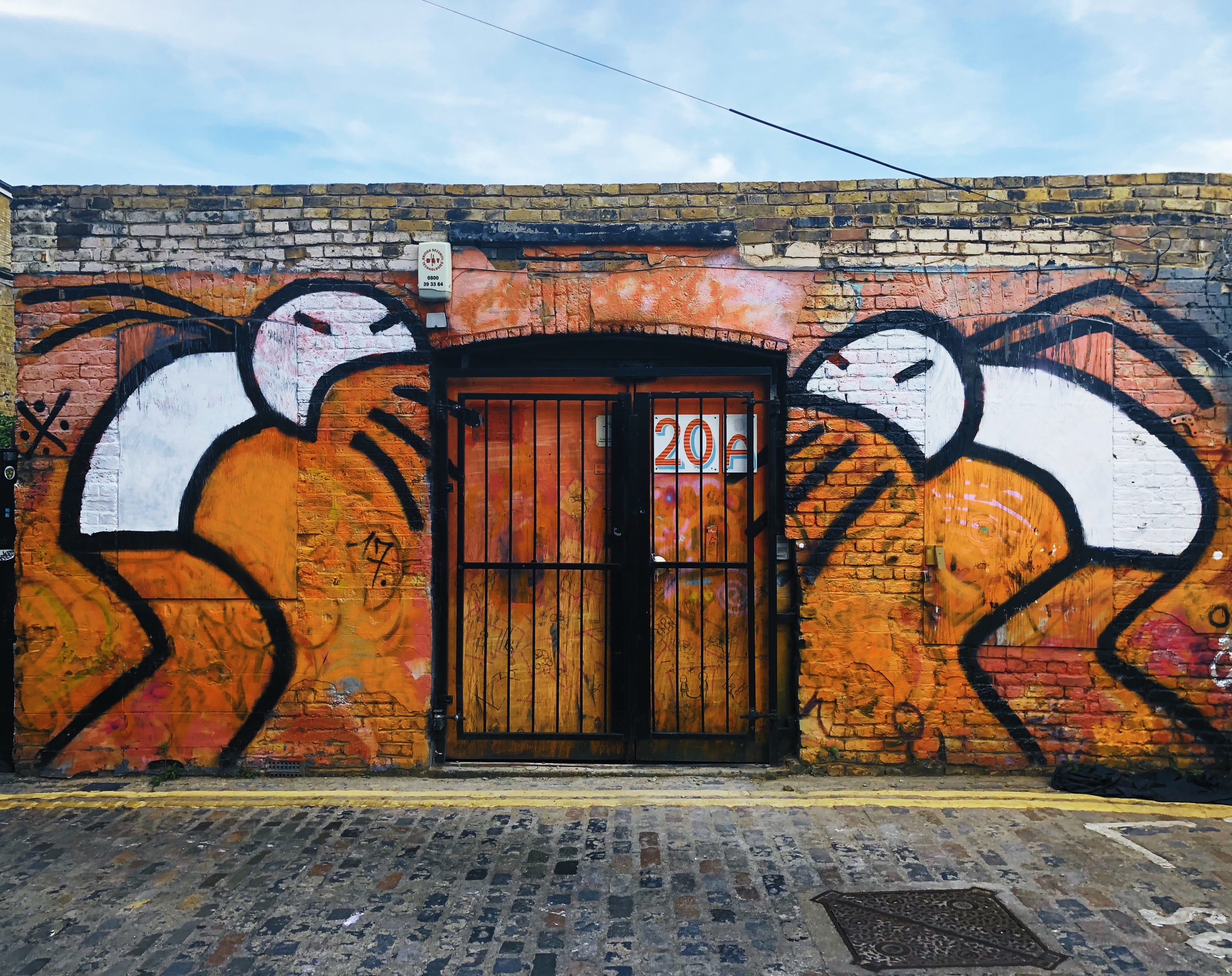 orange and black mural wall