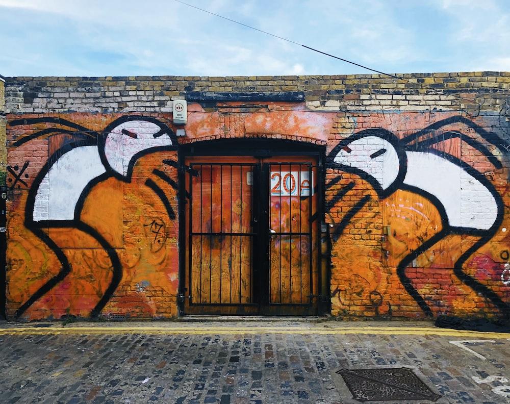 orange and black mural wall