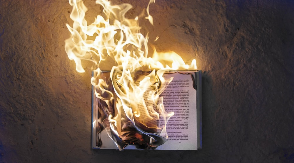 burning open book