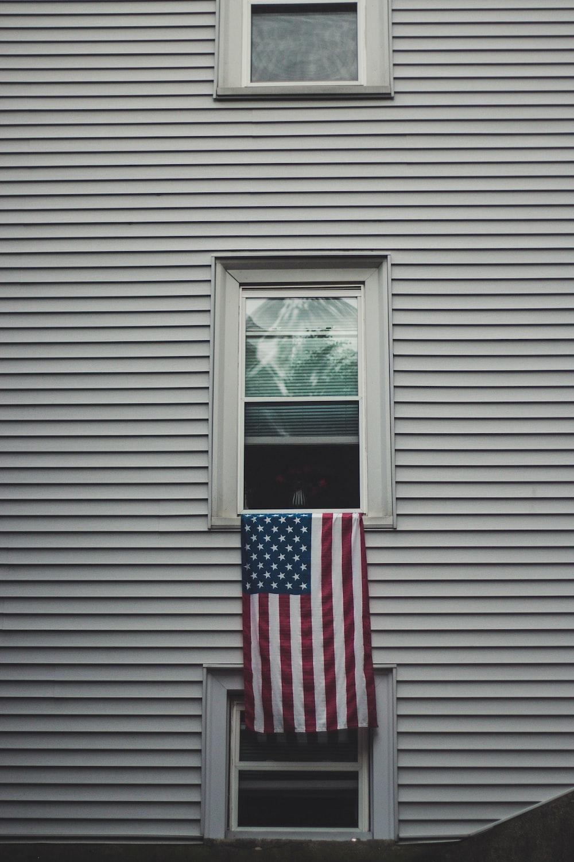 USA flag on window pane