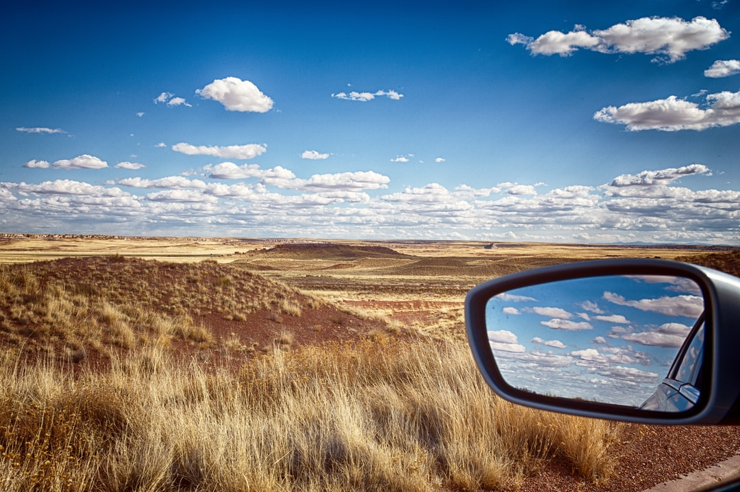 Hot day in the high desert. Clouds in the mirror looked cool.