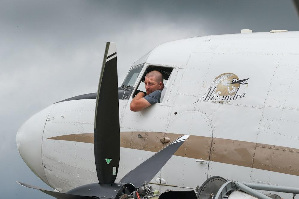 man inside the plane