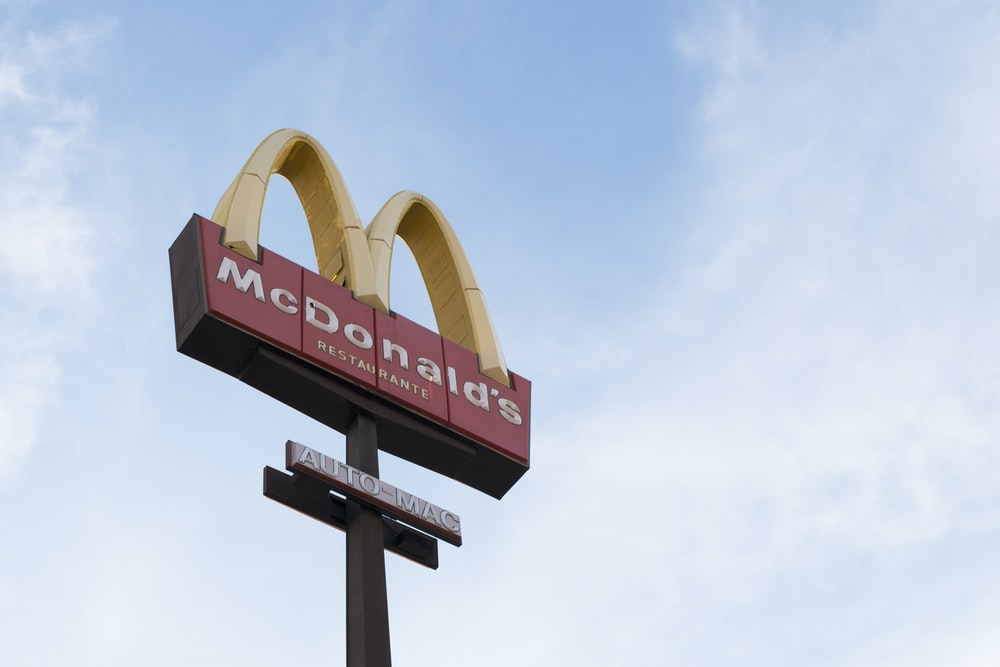 worm's eye view of McDonald's signage