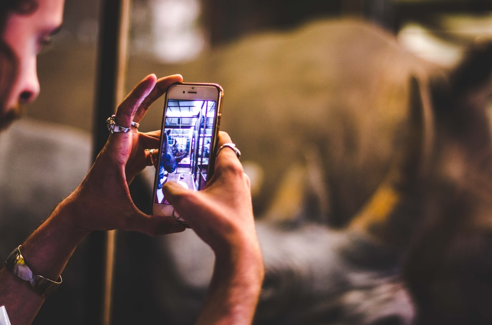 person taking a photo using iPhone