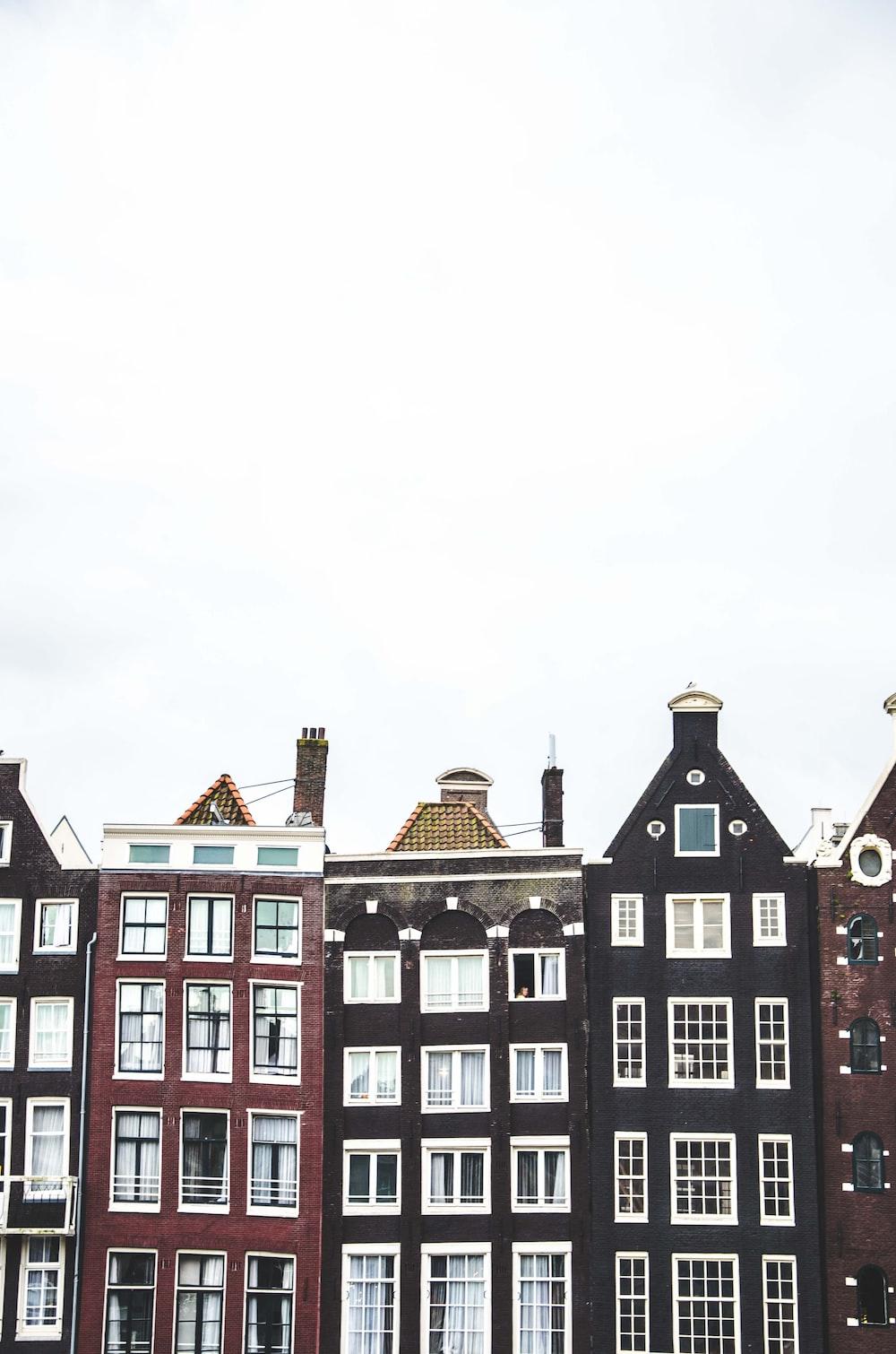 black and maroon buildings