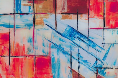 blue and red abstract painting expressionism zoom background