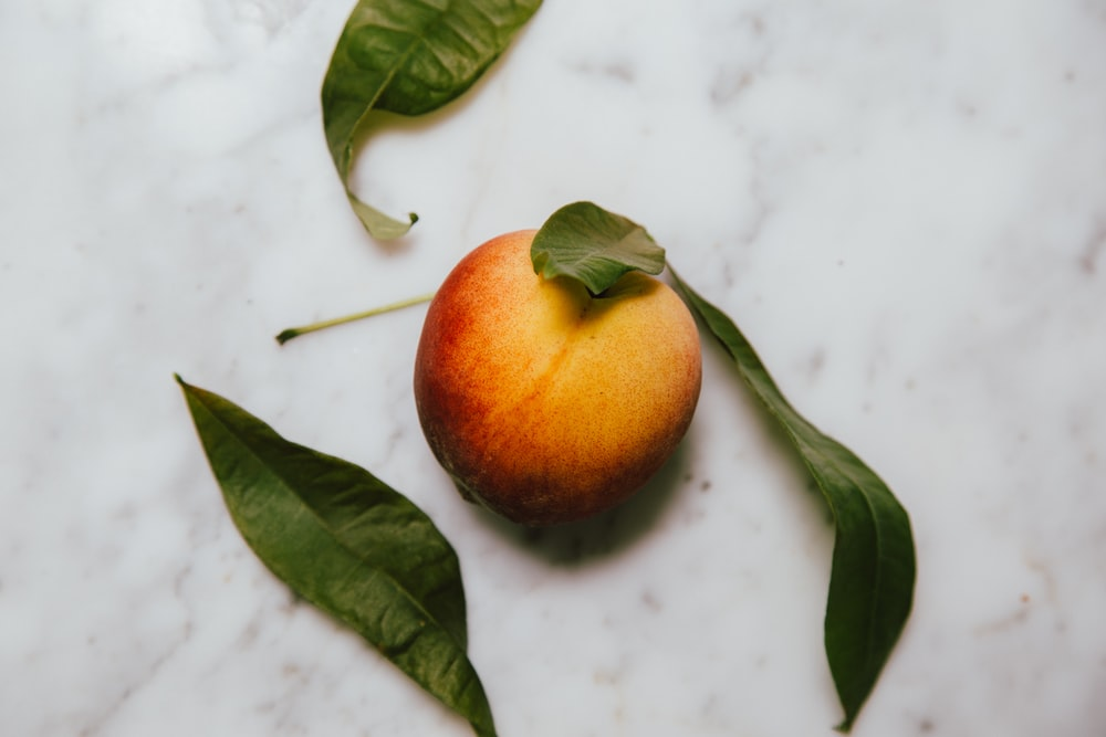 high angle photo of peach fruit