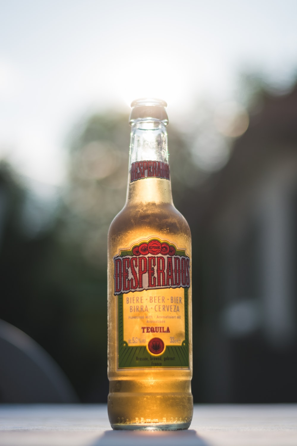 Desperados tequila bottle selective focus photography