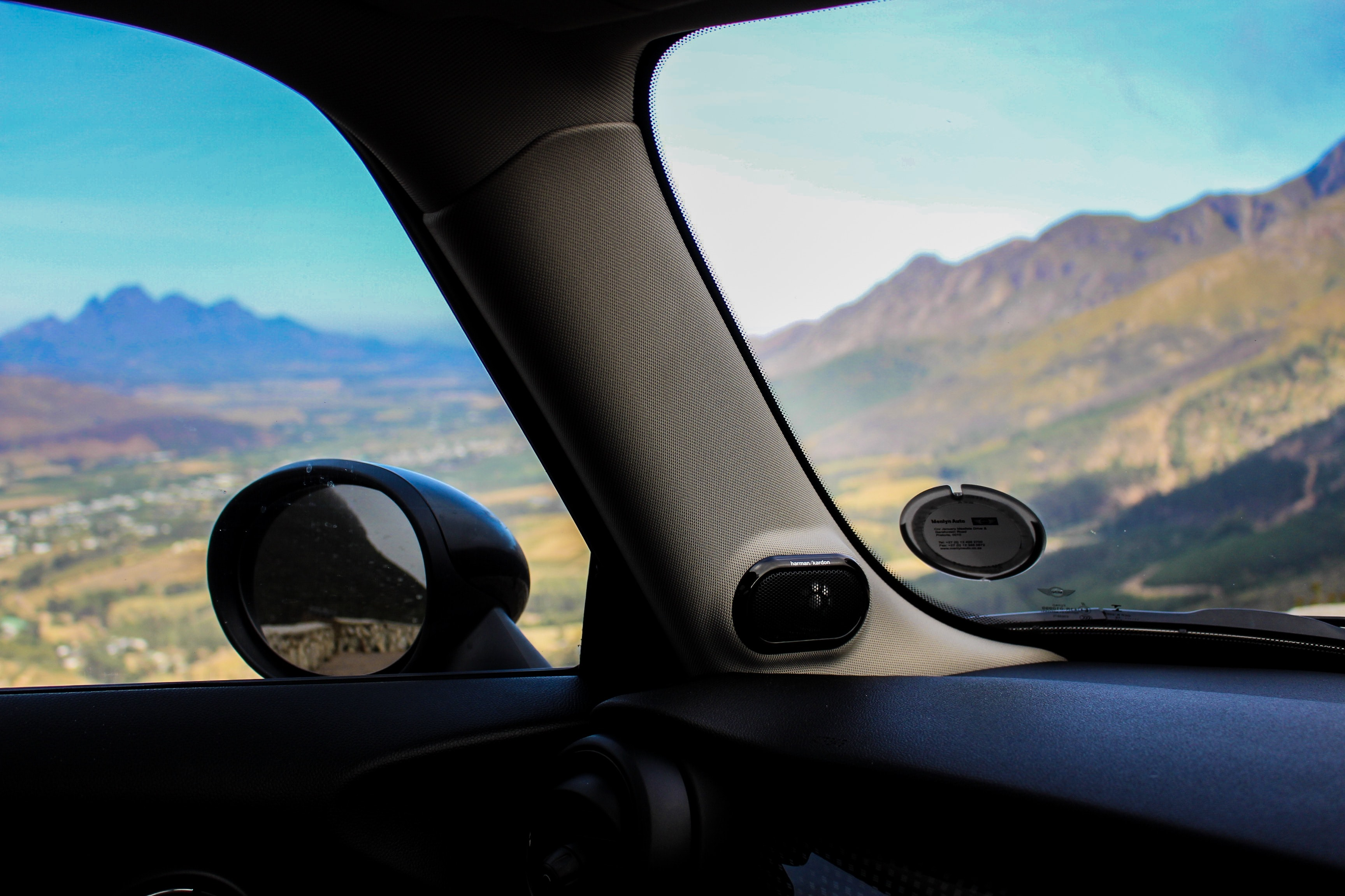 photography of car side mirror