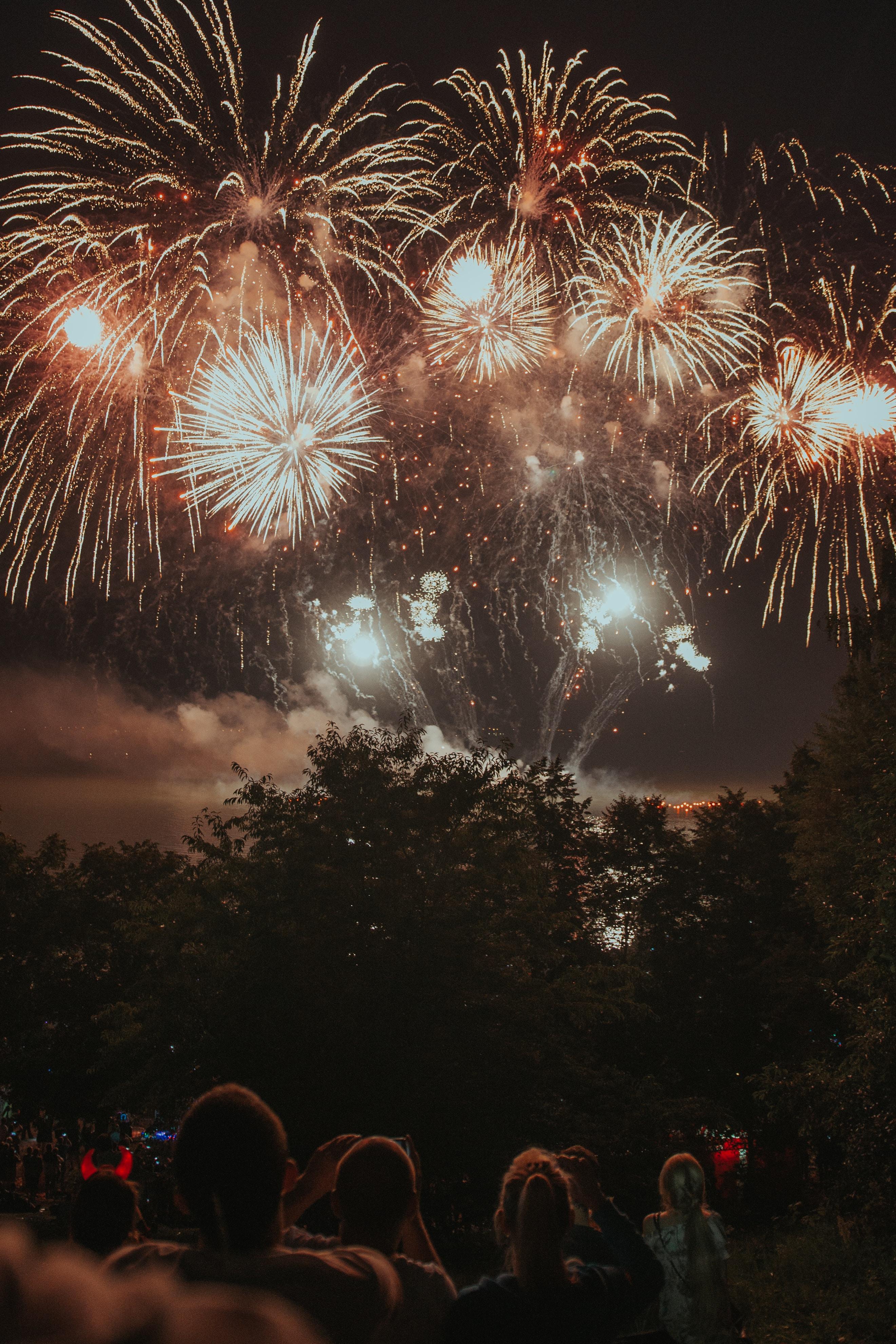 group of people watching fireworks display