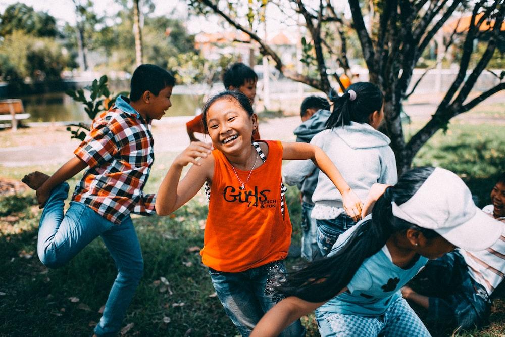 girl running while laughing