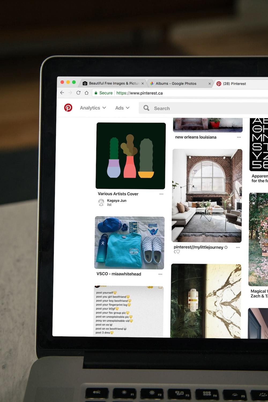 MacBook displaying Pinterest website