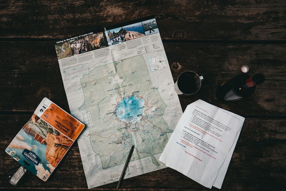 white map near mug