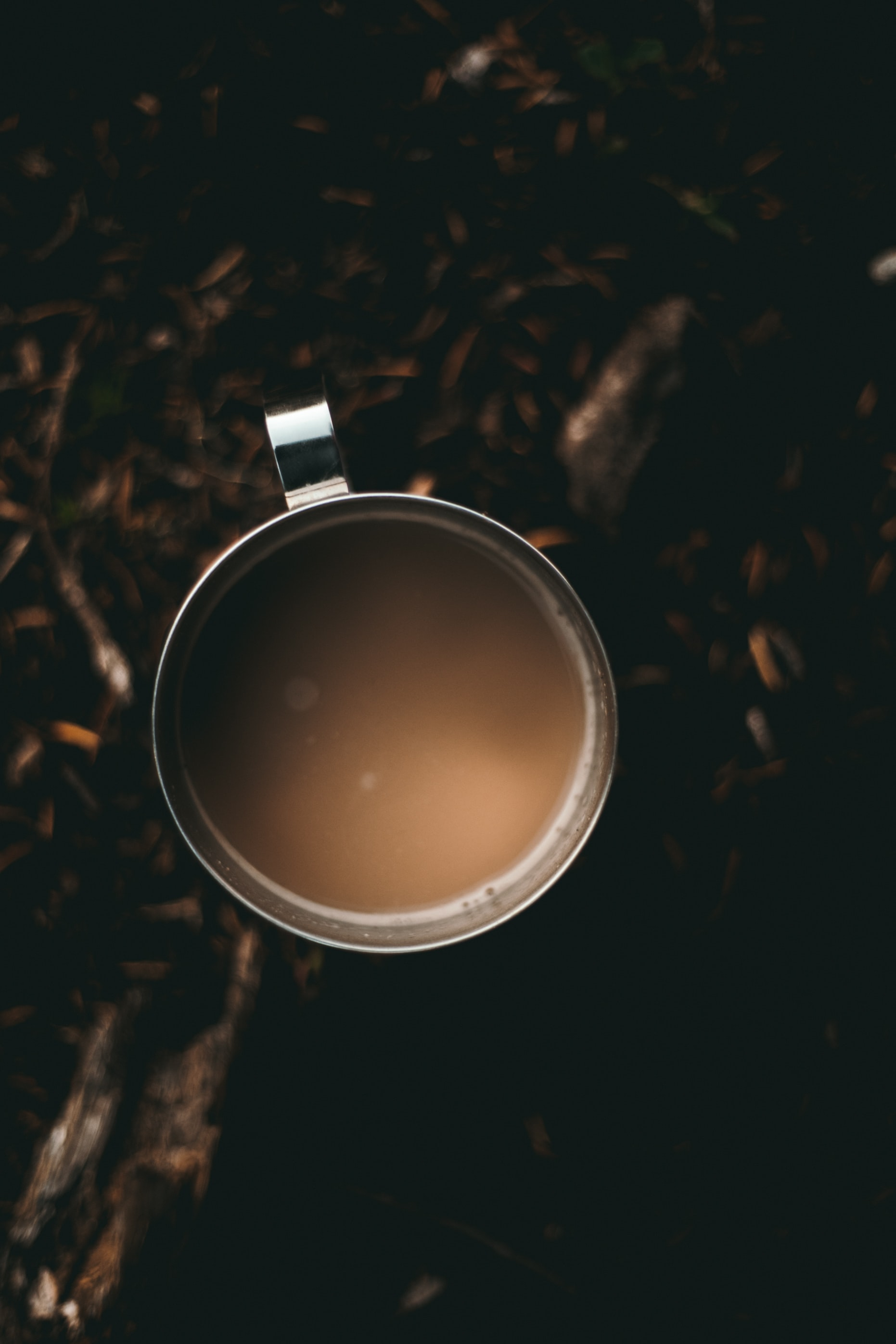 flat lay photography of glass of coffee