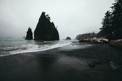 rock formation surrounded of water pacific northwest teams background