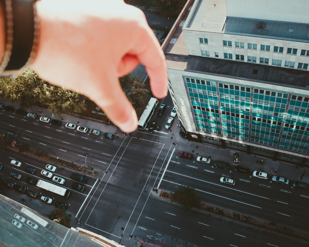 forced perspective photography of bus on road