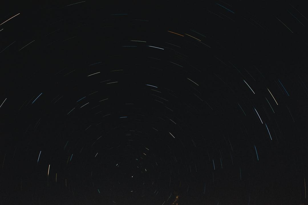 A long exposure, stacked image of the Pole Star and the light trail caused by the planets rotation.