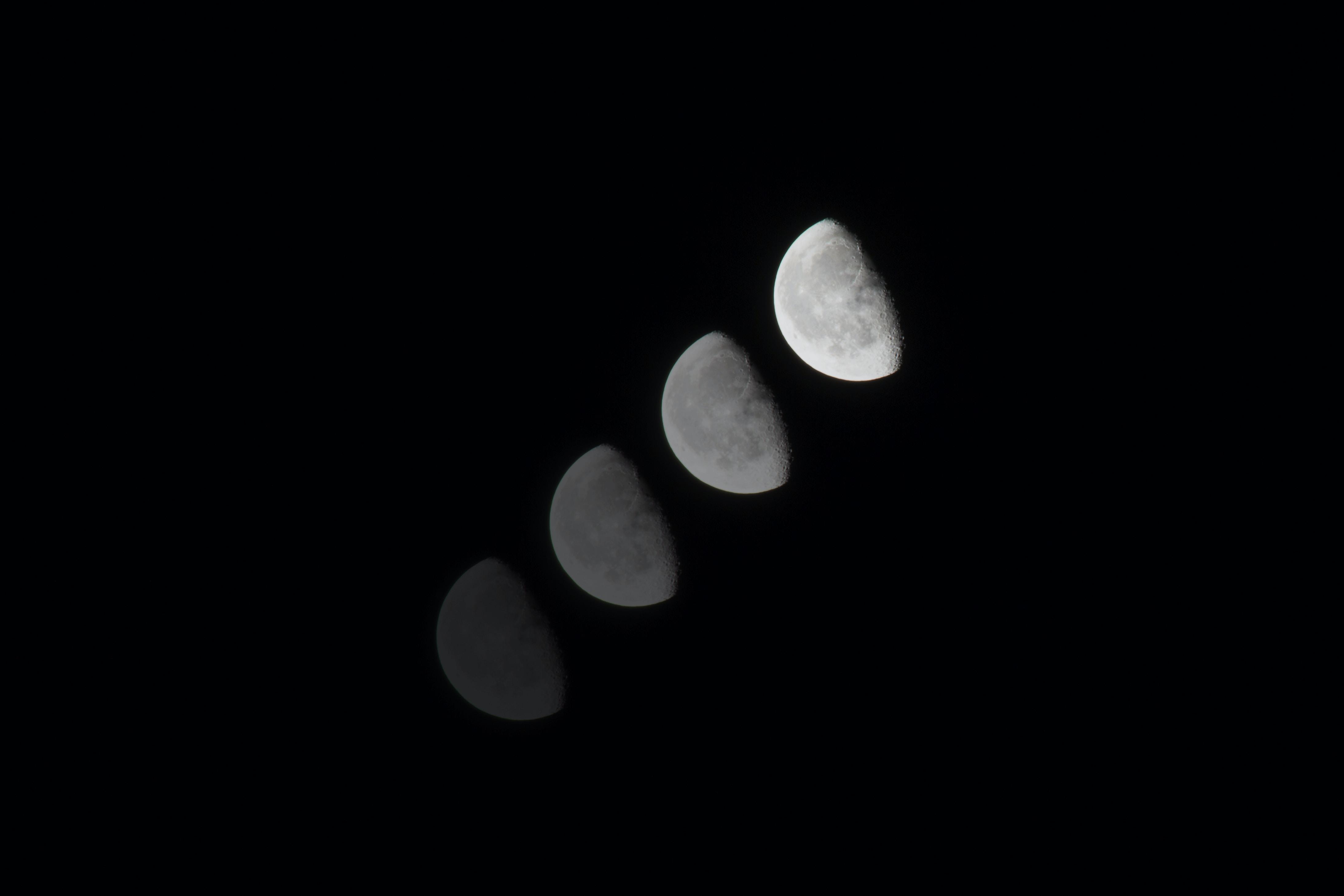 photograph of half moon