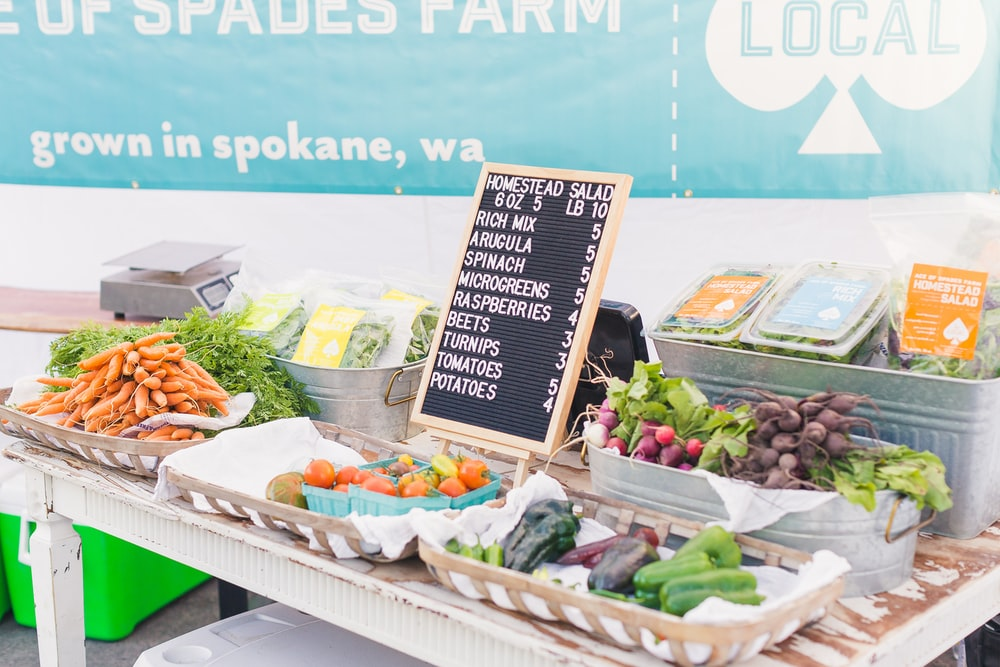 variety of vegetables with price sign on table