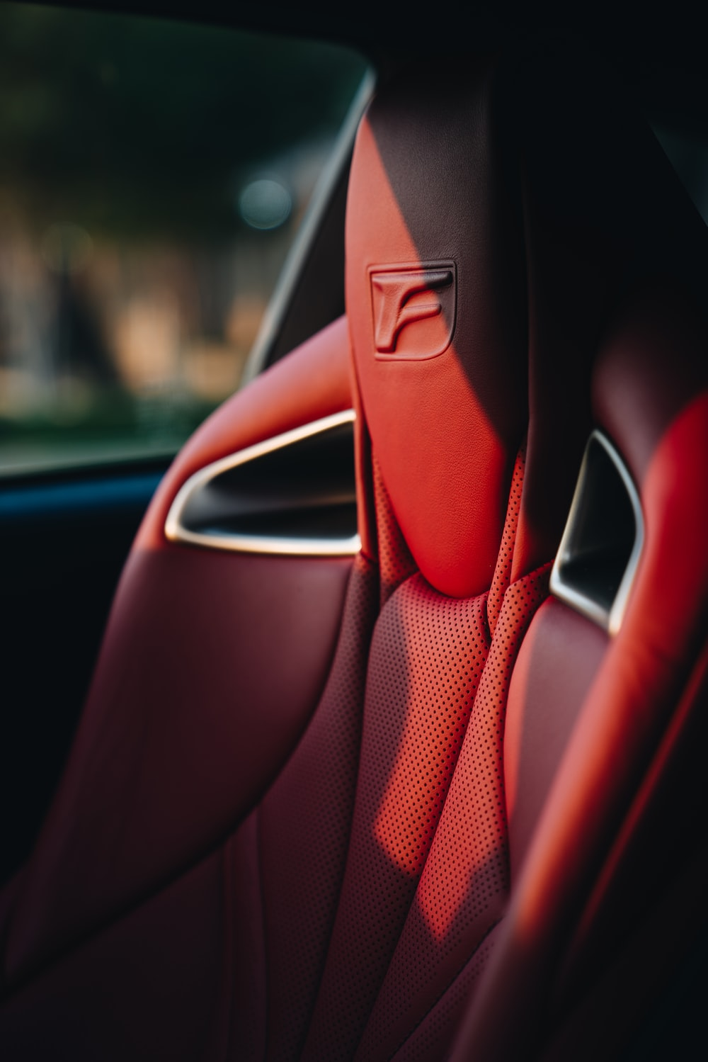 red leather car seat