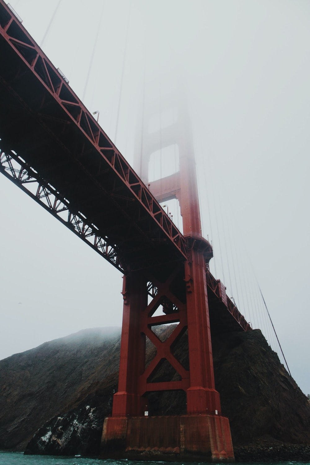 worm's-eye-view of Golden Gate Bridge covered by fog