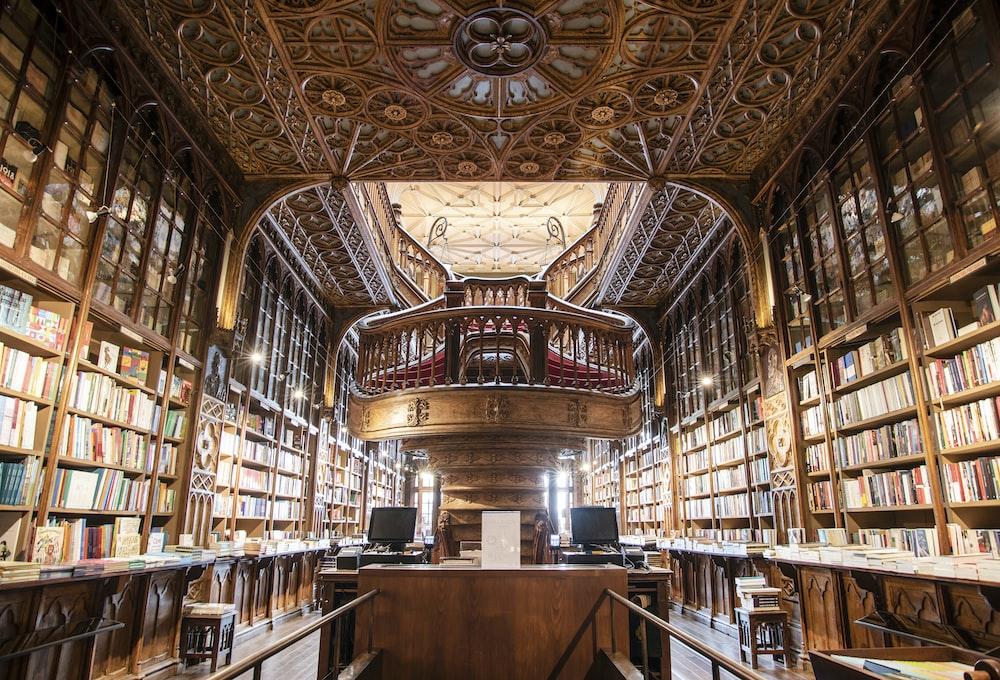 brown concrete library interior