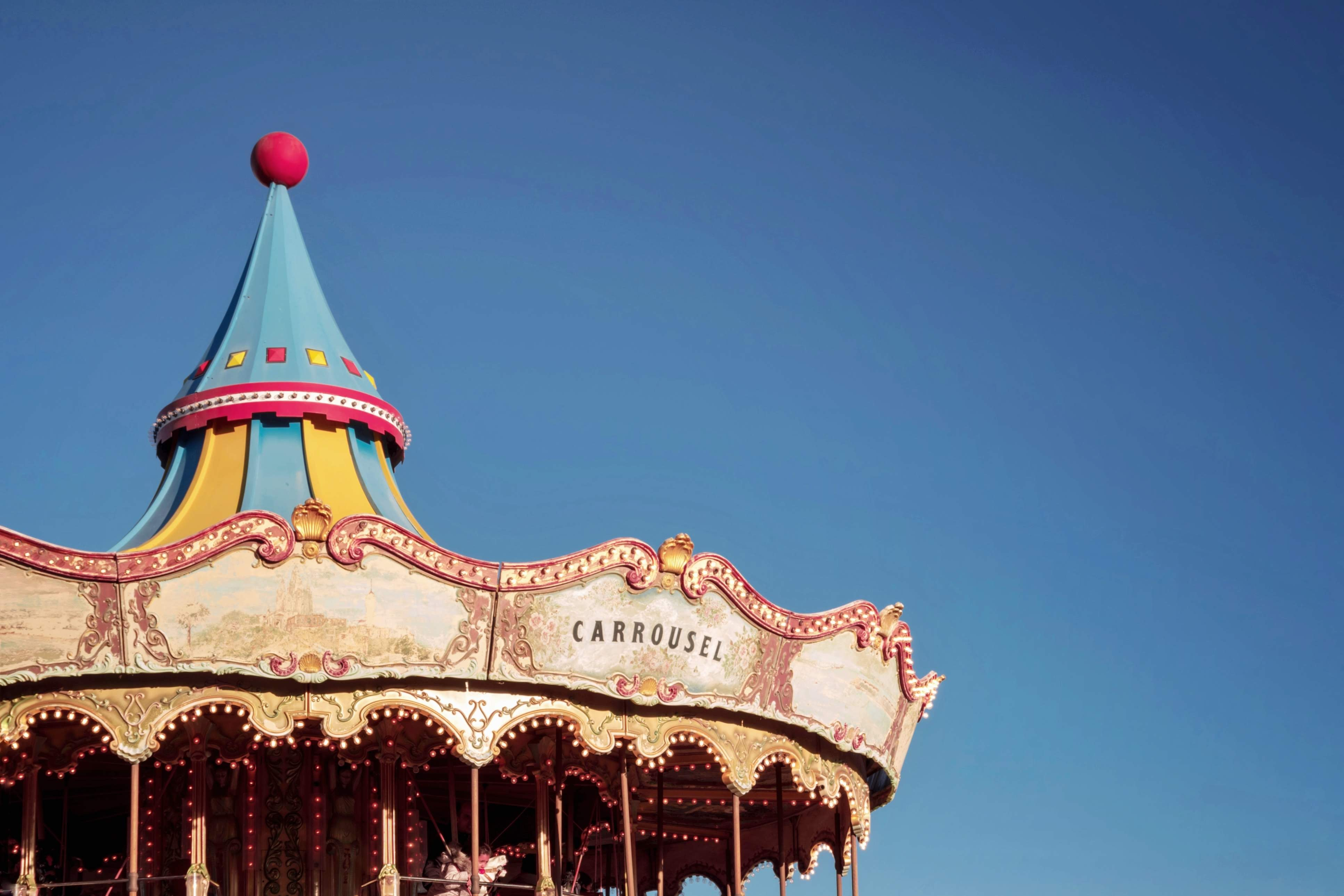 white and blue carousel