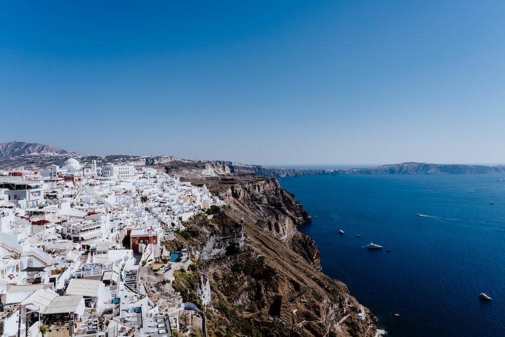 aerial photography of Satorini, Greece