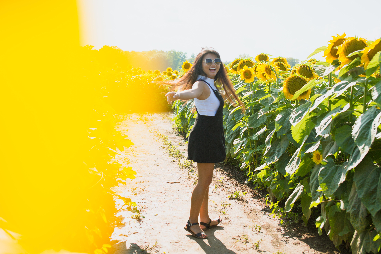 woman standing in sunflower field