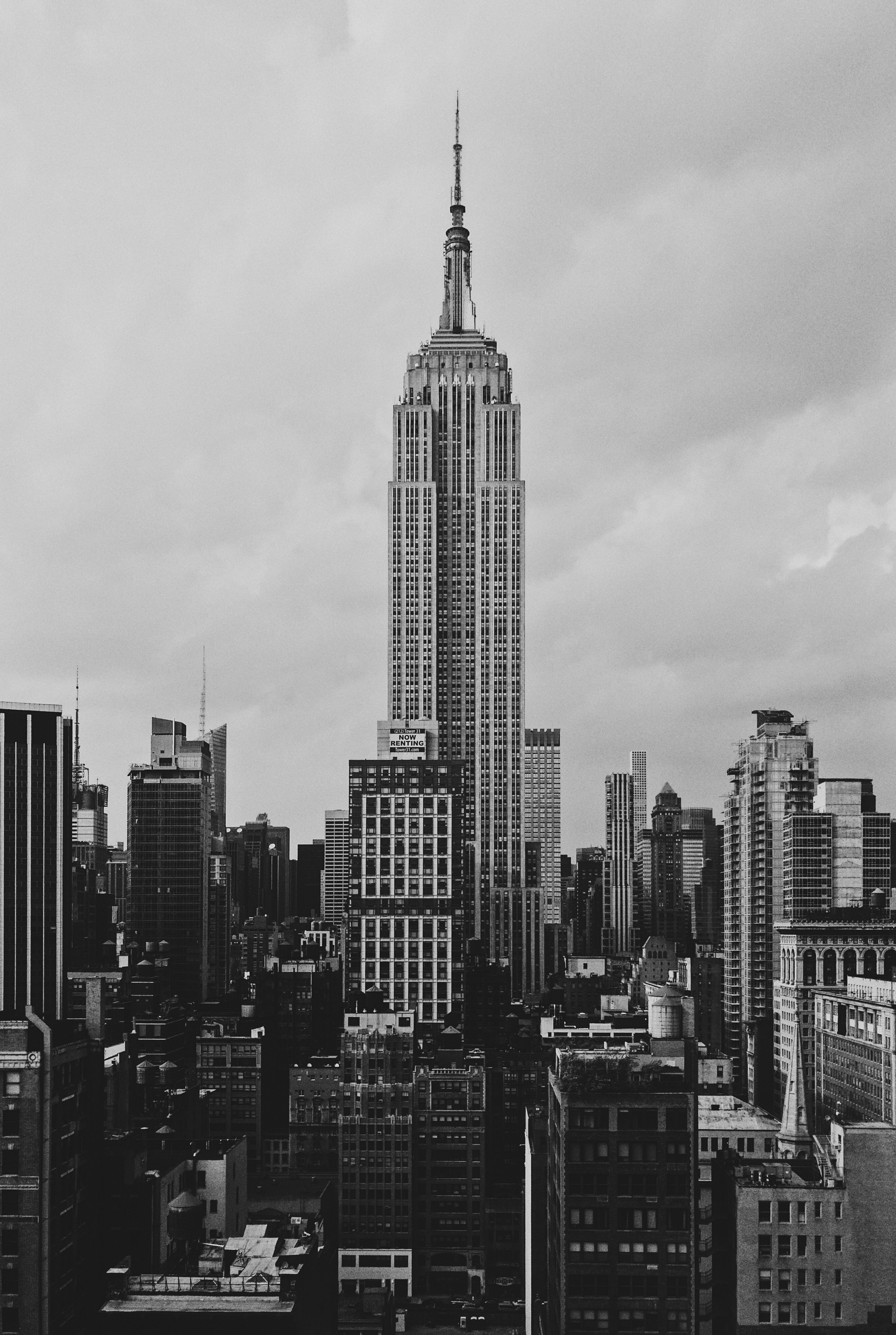 grayscale Empire State building