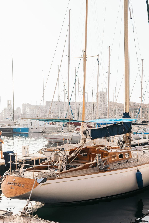 white yacht on bay