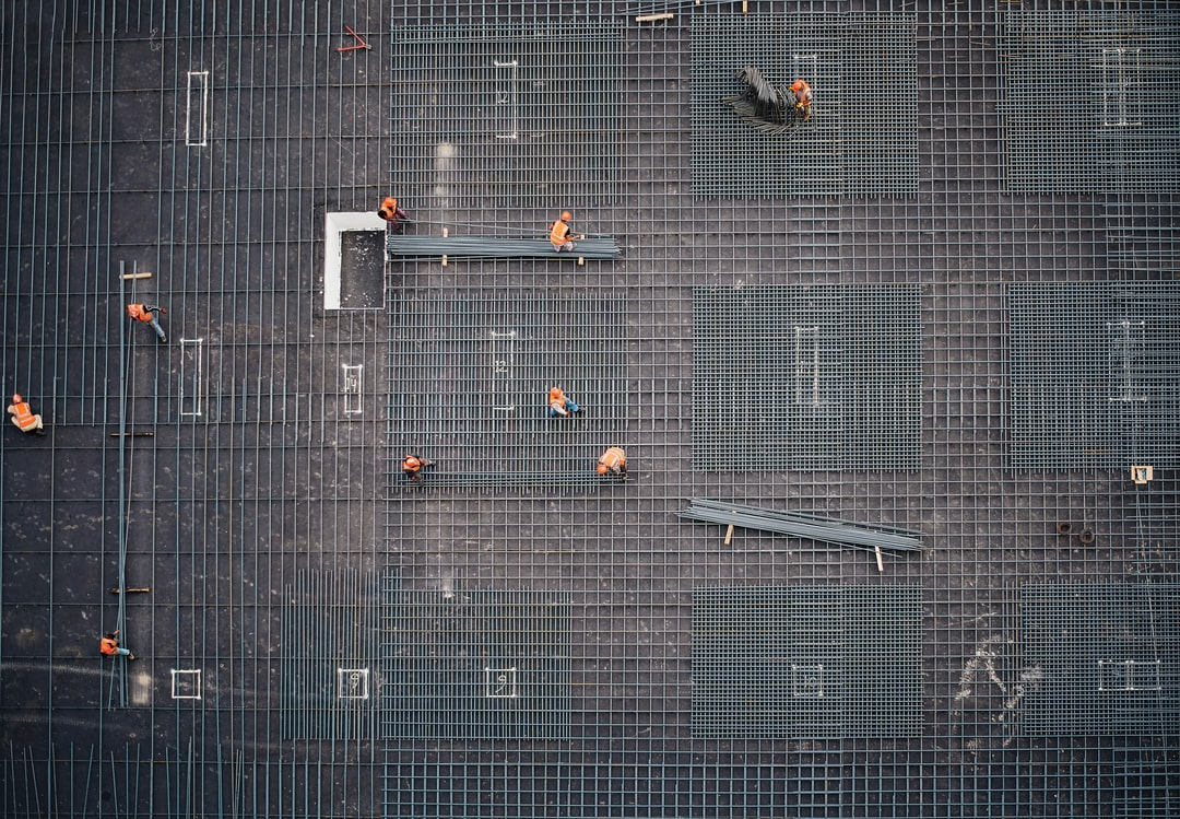 A photo of a construction site taken from a higher building.
