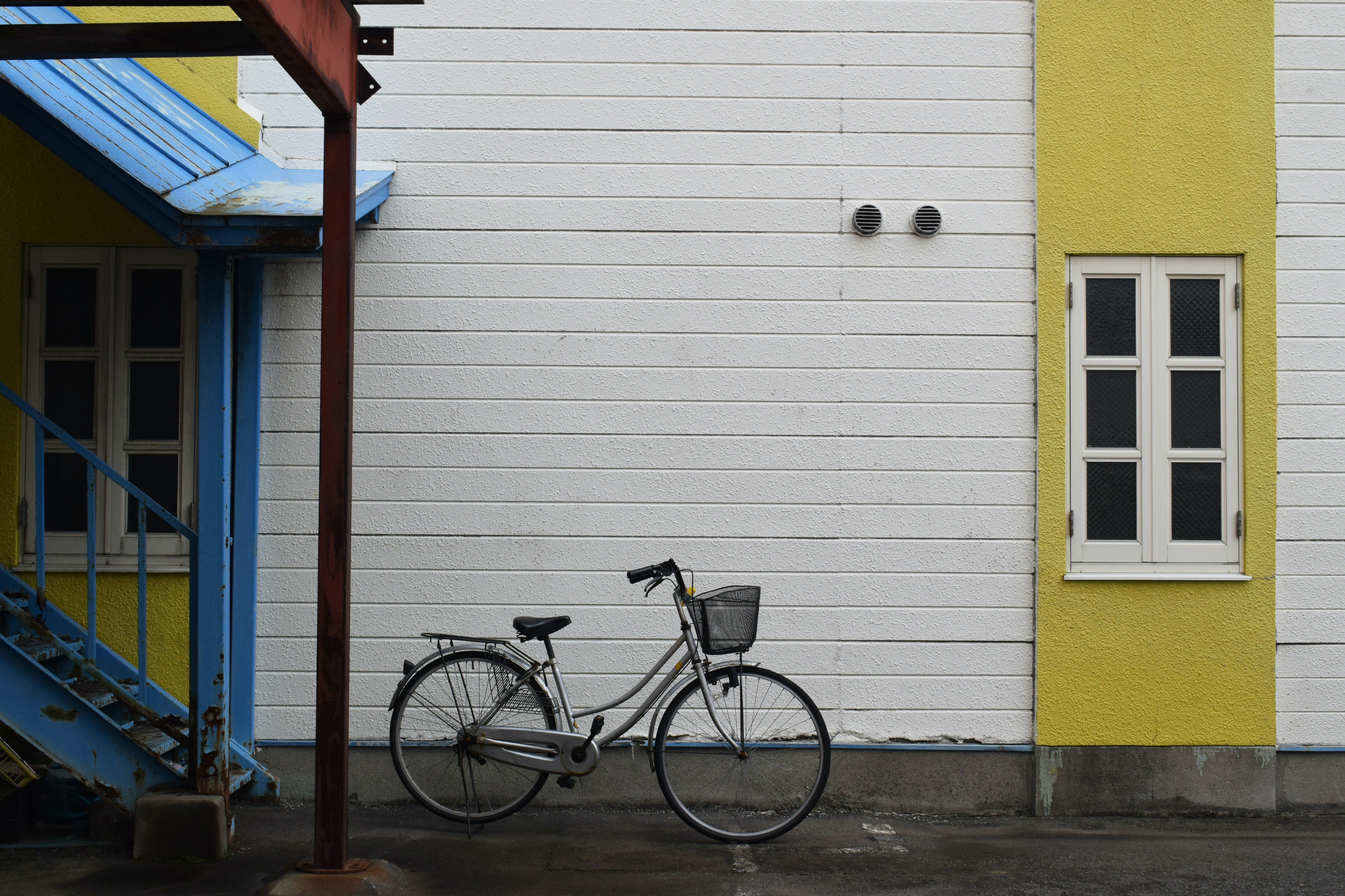 bike parked near stairs outdoor