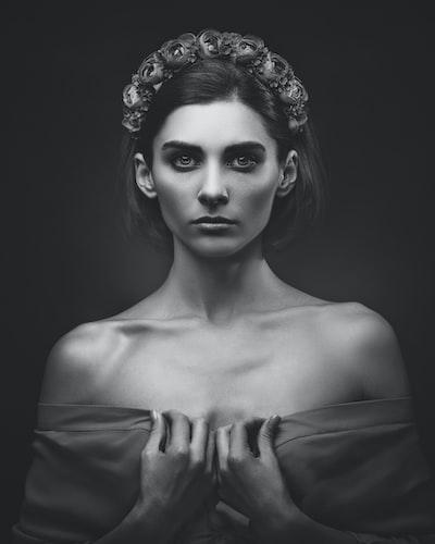 Ethno beauty, Black and white female portrait