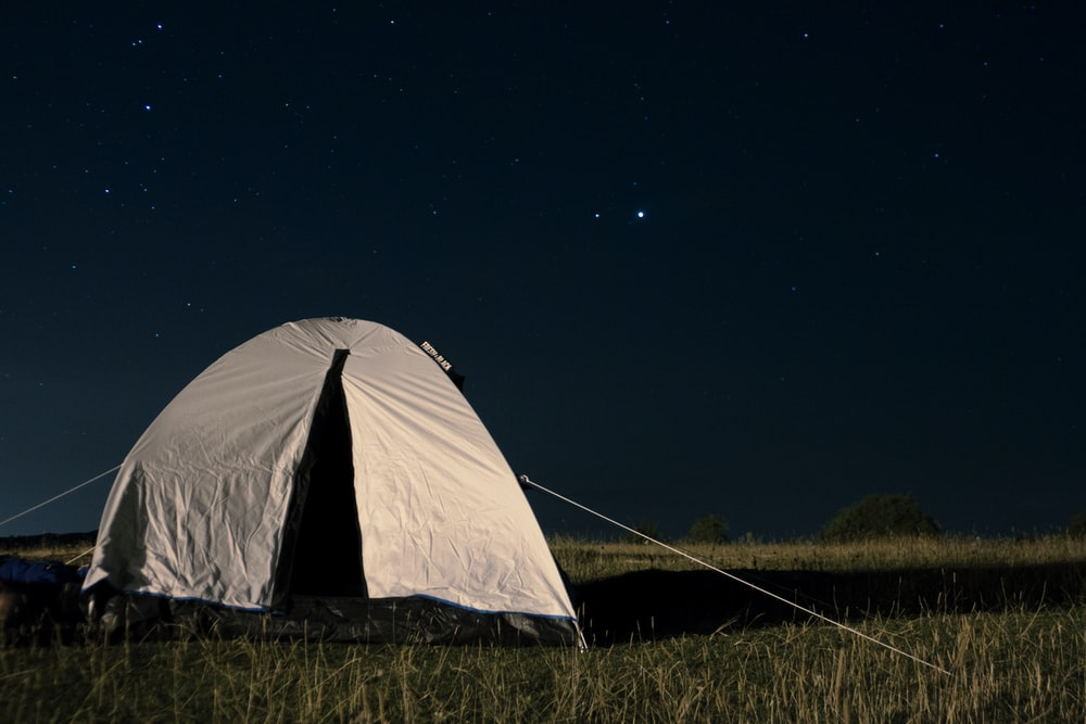 set-up gray tent