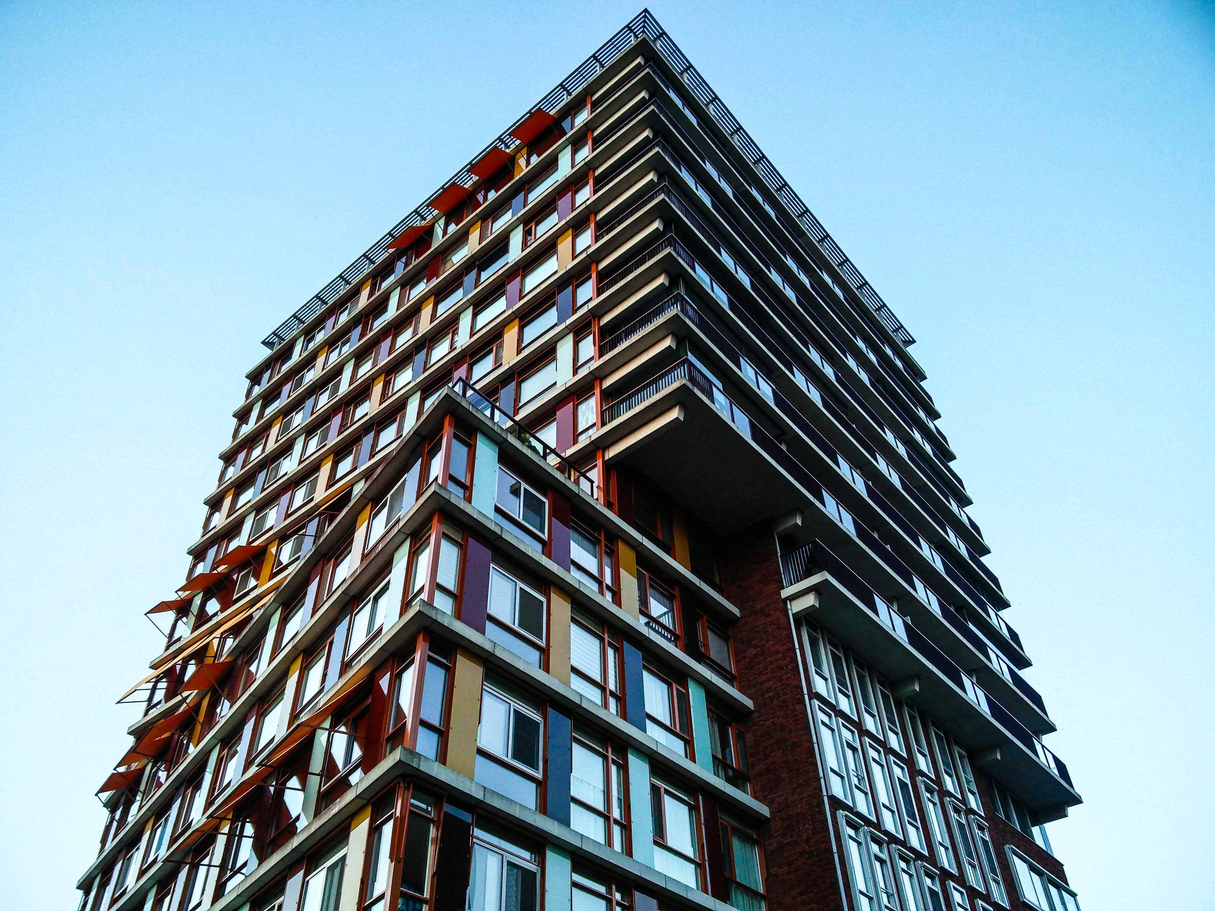 low-angle photography of multicolored building