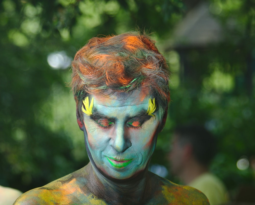 man covered by body paint