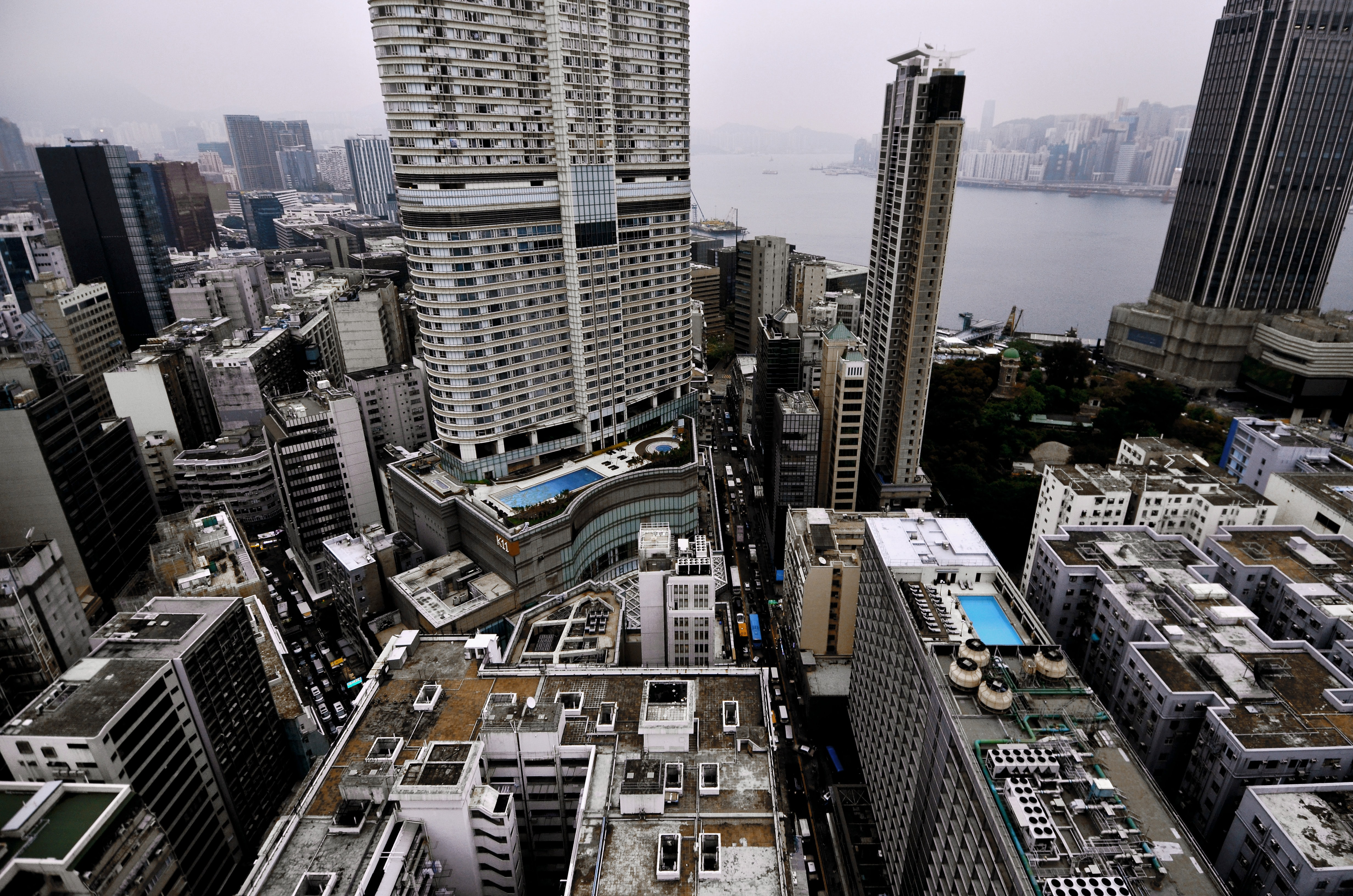 aerial view of commercial buildings