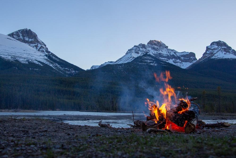 bonfire near mountain