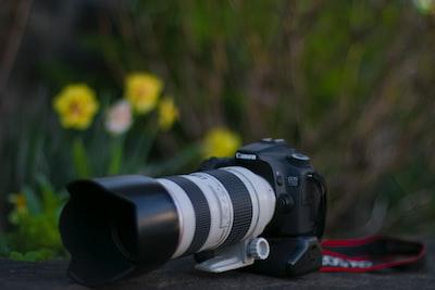 black canon dslr camera near yellow flowers canon zoom background