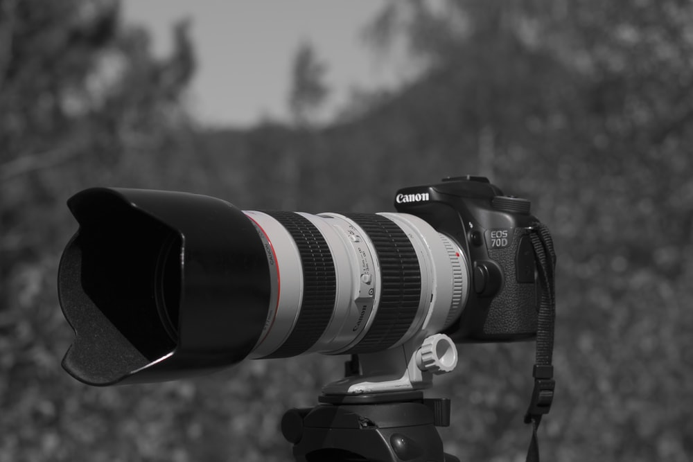 DSLR camera on grayscale photography