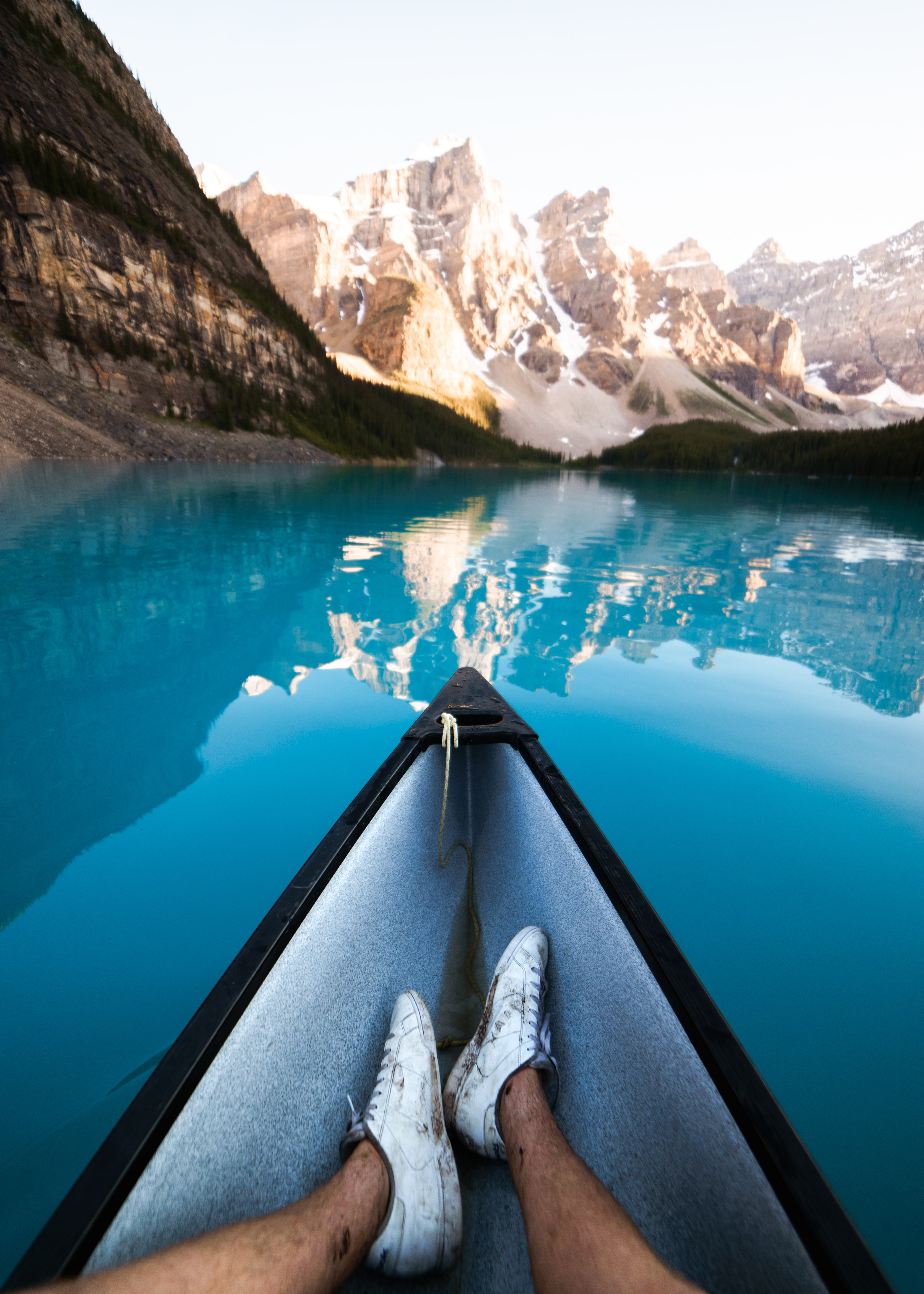person riding boat at Banff National Park