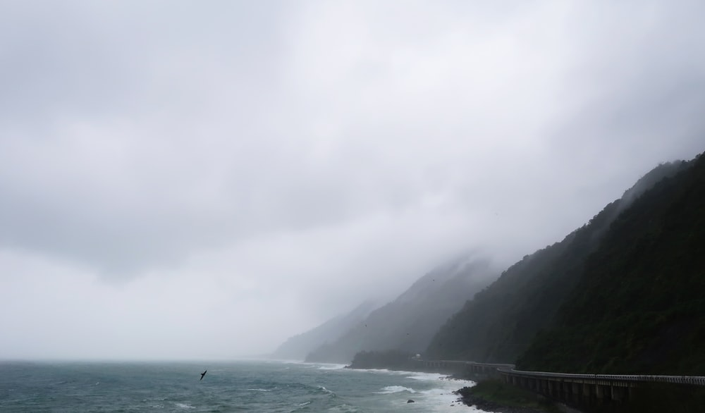 mountains at fogs