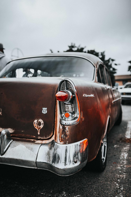 parked classic orange car