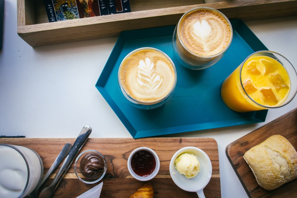 drinking glasses with latte art