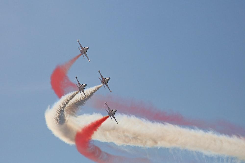 four planes doing air show