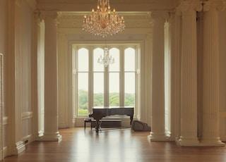 gold chandelier in room